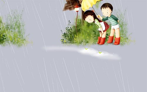 韩国插画:甜蜜小情侣壁纸